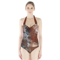 Marbled Structure 4c Halter Swimsuit