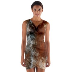 Marbled Structure 4c Wrap Front Bodycon Dress