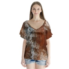 Marbled Structure 4c V Neck Flutter Sleeve Top