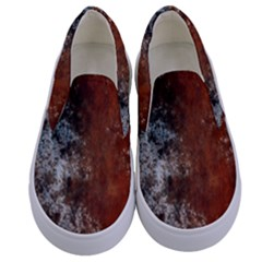 Marbled Structure 4c Kids  Canvas Slip Ons