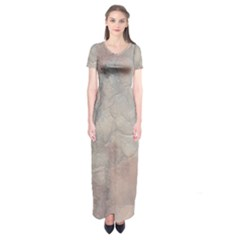 Marbled Structure 5a Short Sleeve Maxi Dress