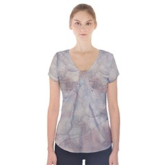 Marbled Structure 5a Short Sleeve Front Detail Top