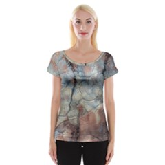 Marbled Structure 5a2 Cap Sleeve Tops