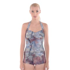 Marbled Structure 5a2 Boyleg Halter Swimsuit