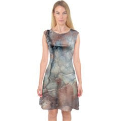 Marbled Structure 5a2 Capsleeve Midi Dress