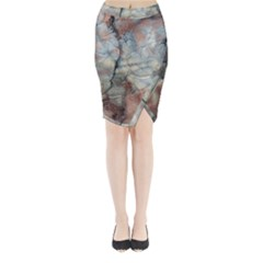 Marbled Structure 5a2 Midi Wrap Pencil Skirt