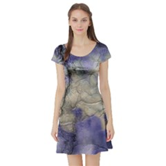 Marbled Structure 5b2 Short Sleeve Skater Dress