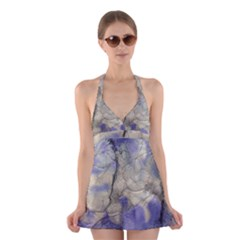 Marbled Structure 5b2 Halter Swimsuit Dress