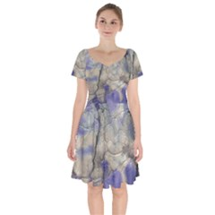 Marbled Structure 5b2 Short Sleeve Bardot Dress