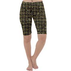 Woven1 Black Marble & Gold Foil Cropped Leggings