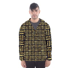 Woven1 Black Marble & Gold Foil Hooded Wind Breaker (men)