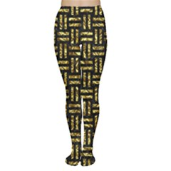 Woven1 Black Marble & Gold Foil Women s Tights