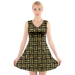 Woven1 Black Marble & Gold Foil V Neck Sleeveless Skater Dress