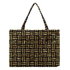 Woven1 Black Marble & Gold Foil Medium Tote Bag