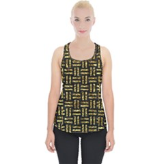 Woven1 Black Marble & Gold Foil Piece Up Tank Top