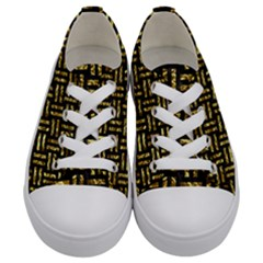 Woven1 Black Marble & Gold Foil Kids  Low Top Canvas Sneakers