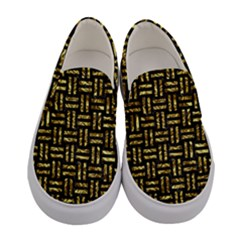 Woven1 Black Marble & Gold Foil Women s Canvas Slip Ons