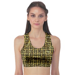 Woven1 Black Marble & Gold Foil (r) Sports Bra