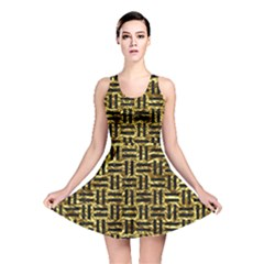 Woven1 Black Marble & Gold Foil (r) Reversible Skater Dress