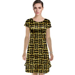 Woven1 Black Marble & Gold Foil (r) Cap Sleeve Nightdress