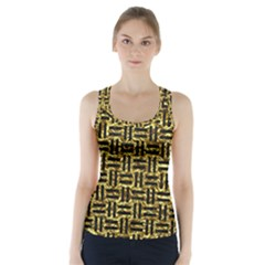 Woven1 Black Marble & Gold Foil (r) Racer Back Sports Top