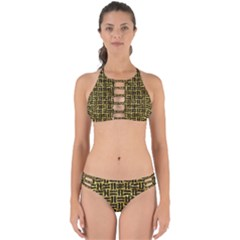 Woven1 Black Marble & Gold Foil (r) Perfectly Cut Out Bikini Set