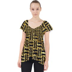 Woven1 Black Marble & Gold Foil (r) Lace Front Dolly Top