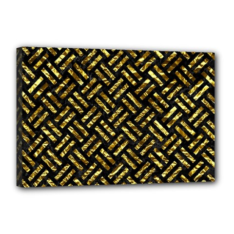 Woven2 Black Marble & Gold Foil Canvas 18  X 12