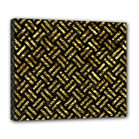 Woven2 Black Marble & Gold Foil Deluxe Canvas 24  X 20