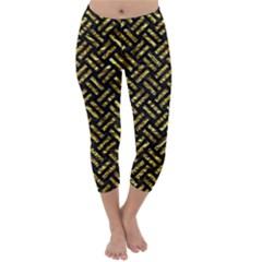 Woven2 Black Marble & Gold Foil Capri Winter Leggings