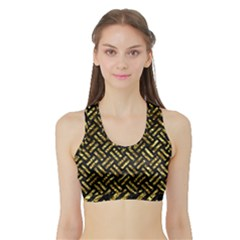Woven2 Black Marble & Gold Foil Sports Bra With Border
