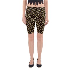 Woven2 Black Marble & Gold Foil Yoga Cropped Leggings