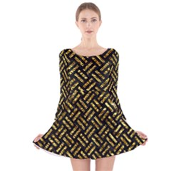 Woven2 Black Marble & Gold Foil Long Sleeve Velvet Skater Dress