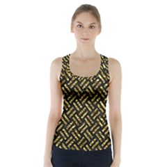 Woven2 Black Marble & Gold Foil Racer Back Sports Top