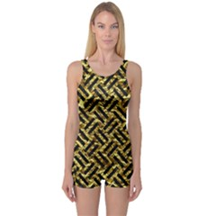 Woven2 Black Marble & Gold Foil (r) One Piece Boyleg Swimsuit