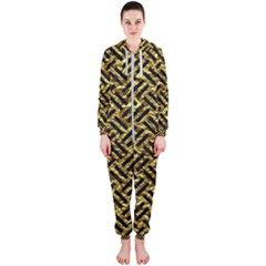Woven2 Black Marble & Gold Foil (r) Hooded Jumpsuit (ladies)