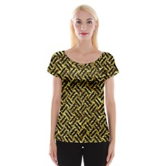 Woven2 Black Marble & Gold Foil (r) Cap Sleeve Tops