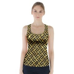 Woven2 Black Marble & Gold Foil (r) Racer Back Sports Top