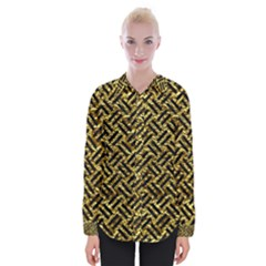 Woven2 Black Marble & Gold Foil (r) Womens Long Sleeve Shirt