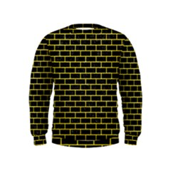 Brick1 Black Marble & Gold Glitter Kids  Sweatshirt