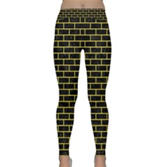 Brick1 Black Marble & Gold Glitter Classic Yoga Leggings