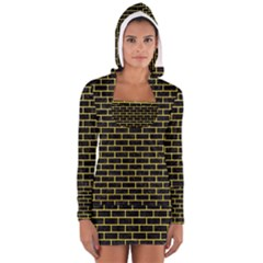 Brick1 Black Marble & Gold Glitter Long Sleeve Hooded T Shirt