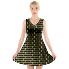 Brick1 Black Marble & Gold Glitter V Neck Sleeveless Skater Dress
