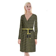Brick1 Black Marble & Gold Glitter Long Sleeve Velvet Front Wrap Dress
