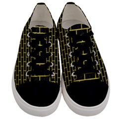 Brick1 Black Marble & Gold Glitter Men s Low Top Canvas Sneakers