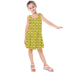 Brick1 Black Marble & Gold Glitter (r) Kids  Sleeveless Dress