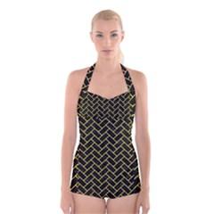 Brick2 Black Marble & Gold Glitter Boyleg Halter Swimsuit