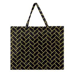 Brick2 Black Marble & Gold Glitter Zipper Large Tote Bag