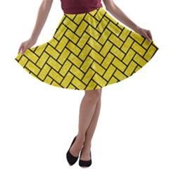 Brick2 Black Marble & Gold Glitter (r) A Line Skater Skirt