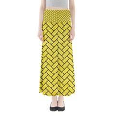 Brick2 Black Marble & Gold Glitter (r) Full Length Maxi Skirt